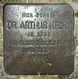 Photo of Arthur Hecht brass plaque