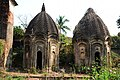 Straight shot of Two Octagonal Chala temple inside the Ruined Rang Mahal Palace at Mankar in Purba Bardhaman District.jpg