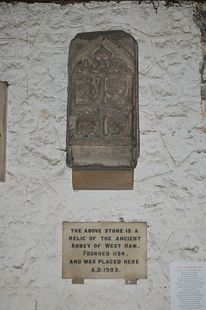 Stratford Langthorne Abbey - There are few traces of Stratford Langthorne Abbey. Shown is the keystone from the charnel house door, now in the parish church of West Ham.