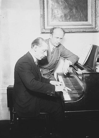 Stravinsky and Fulwaagder at piano