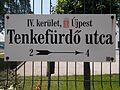 Street sign, Tenkefürdő Street, 2017 Káposztásmegyer.jpg