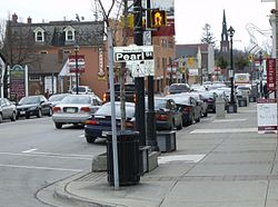 Streetsville is marked by street signs and banners along Queen Street.