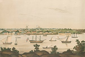 Rum Rebellion - View of Sydney by artist John Eyre, c. 1807