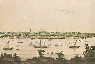 Rum Rebellion - View of Sydney by artist John Eyre, c. 1807