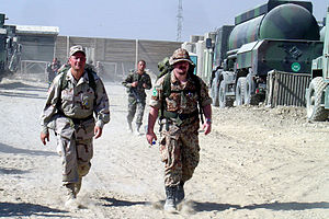T99 (camouflage) - Danish soldier (on right) wearing a T/99 patterned uniform in Kabul, Afghanistan.