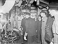 THE KING WITH THE HOME FLEET. 14 AUGUST 1943, SCAPA FLOW. THE KING VISITED MEN AND SHIPS OF THE HOME FLEET, HE WENT ABOARD THE FLOTILLA LEADER HMS ONSLOW WHICH TOOK HIM TO THE FLAGSHIP HMS DUKE OF YORK, WHERE H A18636.jpg