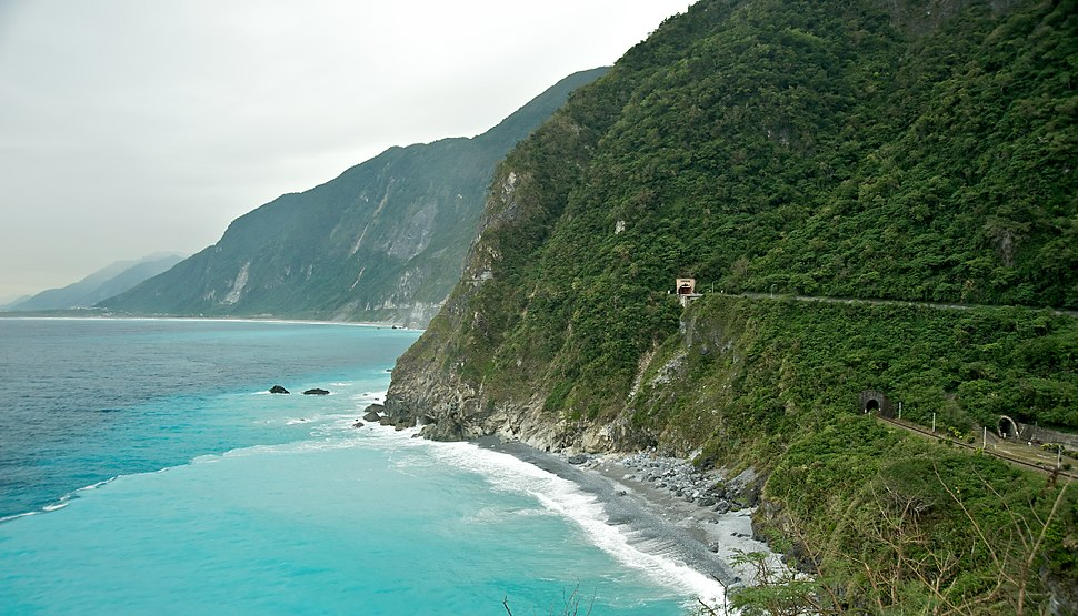 Taiwan 2009 CingShui Cliffs on SuHua Highway FRD 6762 Pano Extracted