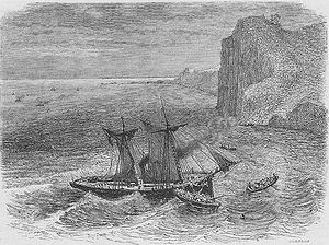 The wreckage of the Takao, pursued by steamships of the Imperial Navy