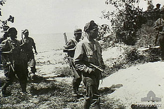 Royal Netherlands East Indies Army - A joint Australian-NEI patrol on Tarakan during the retaking of the island.