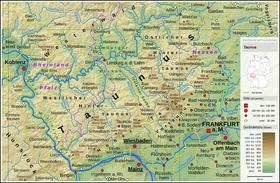 Carte topographique du Taunus.