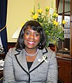 Terri Sewell wearing yellow ribbon to welcome troops home from Iraq in 2011.jpg