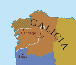 Rodrigo Pérez de Traba - Rodrigo held castles both in the region of Trastámara (the land beyond the Tambre river, hatched) in the archdiocese of Santiago, and also along the southern border of Galicia with Portugal (purple)
