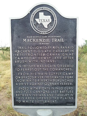 Ranald S. Mackenzie - Texas Historical Marker on Highway 82 in Blanco Canyon for the Mackenzie Trail