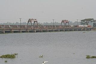 Thanneermukkom Bund Dam in Kuttanad, Kerala