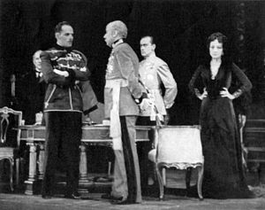 The Masque of Kings (play) - Cast of The Masque of Kings, from left: Henry Hull, Dudley Digges, Joseph Holland and Pauline Frederick