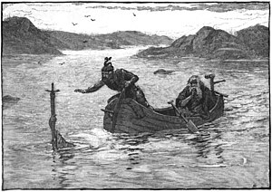 Excalibur - The Lady of the Lake offering Arthur Excalibur, by Alfred Kappes (1880)