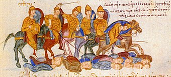 Defeat of the Bulgarians by the Byzantines depicted in the Madrid Skylitzes. The Chronicle of Ioannis Skylitzis Bulagar Defeat.jpg