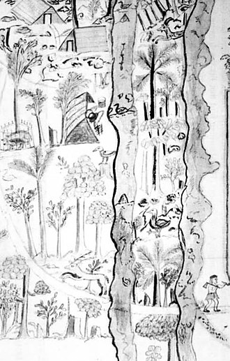 """Mauritius sheldgoose - Illustration of """"the Farm at Foul Bay"""" from 1670, which may depict a Mauritian shelduck between the streams"""
