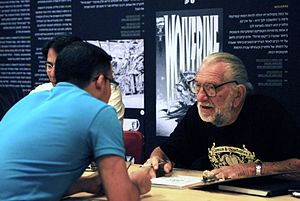 Joe Kubert - Joe Kubert at the Exhibition: Joe, Adam and Andy Kubert, Heroes, The Israeli Cartoon Museum, Holon, Israel, 2011