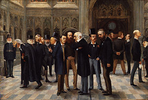 Lobbying in the United States - The lobby of the House of Commons. Painting 1886 by Liborio Prosperi.