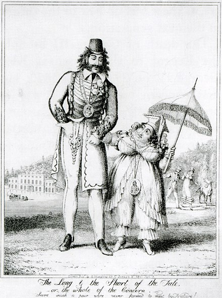 A caricature by George Cruikshank mocking Caroline for her supposed affair with Pergami The Long and Short of the Tale by George Cruikshank.jpg