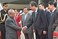 The President, Shri Pranab Mukherjee being received by the Vice Governor of Guangdong, Mr. Zhongyou and the Vice Minister, Mr. Liu Zhenmin on his arrival, at Guangzhou, China on May 24, 2016.jpg