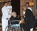 The President, Shri Pranab Mukherjee presenting the Padma Vibhushan Award to Shri Sayed Haider Raza, at an Investiture Ceremony-II, at Rashtrapati Bhavan, in New Delhi on April 20, 2013.jpg