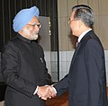 The Prime Minister, Dr. Manmohan Singh meeting the Chinese Prime Minister, Mr. Wen Jiabao, on the sidelines of the 15th United Nations Climate Change Conference, at Copenhagen on December 18, 2009.jpg