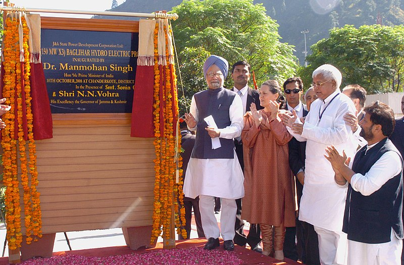 File:The Prime Minister, Dr. Manmohan Singh unveiling the plaque to inaugurate the 450 MW Baglihar Hydro Electric Project of J&K State Power Development Corporation Ltd., in Jammu & Kashmir on October 10, 2008.jpg