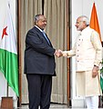 The Prime Minister, Shri Narendra Modi meeting the President of the Republic of Djibouti, Mr. Ismail Omar Guelleh, during the 3rd India Africa Forum Summit, in New Delhi on October 28, 2015.jpg