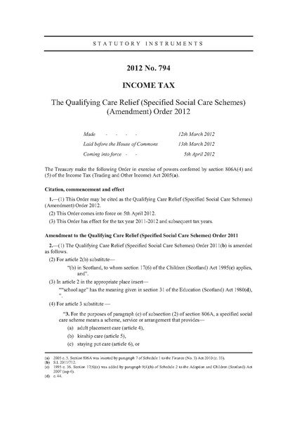 File:The Qualifying Care Relief (Specified Social Care Schemes) (Amendment) Order 2012 (UKSI 2012-794 qp).pdf