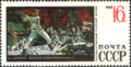 The Soviet Union 1968 CPA 3709 stamp ('The Defense of Sevastopol' (1942) by Aleksandr Deyneka (1899-1969)).png