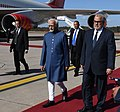 The Vice President, Shri M. Hamid Ansari with the Prime Minister of Morocco, Mr. Abdelilah Benkirane on his arrival, at Sale International Airport, in Rabat, Morocco on May 30, 2016.jpg