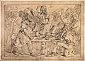 The dance of death; Death appears to the people in the inn a Wellcome V0042036.jpg