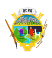The emblem of Ocra, Chinchaypujiol, Peru featuring a digging tool, a sling, two Inca people, and the Andean Chakana.png