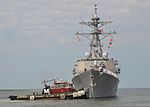 The guided missile destroyer USS Ramage (DDG 61) pulls away from the pier at Naval Station Norfolk, Va., Aug. 7, 2013 130807-N-WJ261-059.jpg