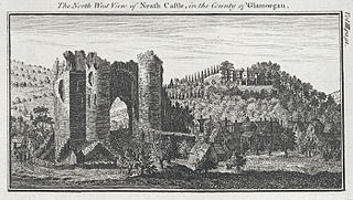 The north west view of Neath castle, in the county of Glamorgan