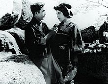 Tsuru Aoki (right) with actor and husband Sessue Hayakawa in a screen ...