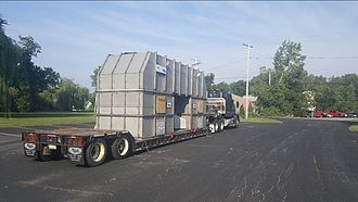 Logistics - Loading of a thermal oxidizer at the point of origin en route to a manufacturing plant