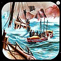This is a boldly illustrated glass slide featuring a traditional lifeboat and its crew braving the water and aiding the crew of a sinking ship to safety. (7447412554).jpg