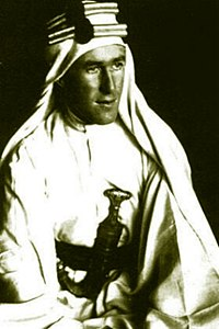 T.E. Lawrence in the white silk robes of the Sherifs of Mecca.