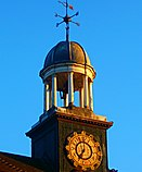 Thomas Wall Centre clock lit up in evening sun, SUTTON, Surrey, Greater London (3).jpg