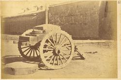 Three-Wheeled Wooden Vehicle with Chinese Artillery. Lanzhou, Gansu Province, China, 1875 WDL1902