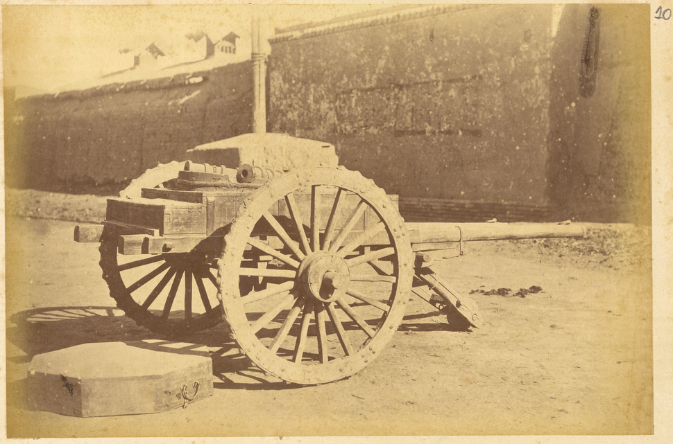 Three-Wheeled Wooden Vehicle with Chinese Artillery. Lanzhou, Gansu Province, China, 1875 WDL1902