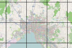 Tiled web map - An exaggeration of a tiled web map, in this case the default OpenStreetMap style near Melbourne, Australia. Tiled web maps are normally displayed with no gap between tiles.