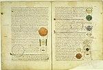 """Seiten einer Handschrift des """"Timaios""""-Kommentars des Calcidius. Vatikan, Biblioteca Apostolica Vaticana, Codex Reginensis Latinus 1308 (11. Jahrhundert)"""