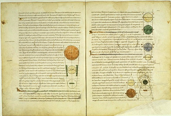 Medieval manuscript of Calcidius's Latin translation of Plato's Timaeus, which is one of the Platonic dialogues with the most overt Pythagorean influences Timaeus trans calcidius med manuscript.jpg