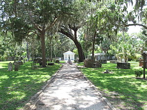 Tolomato Cemetery - Picture of the Tolomato Cemetery from the entryway taken in July 2012.