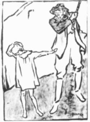"""Mărgărita Miller-Verghy - 1920 cartoon by Nicolae Tonitza, criticizing the social exclusion of war orphans. The man, who is about to slap the child, exclaims: """"A war orphan and out begging? Mind your rank, you moron!"""""""
