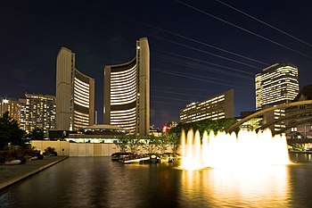 Night view of the Toronto City Hall